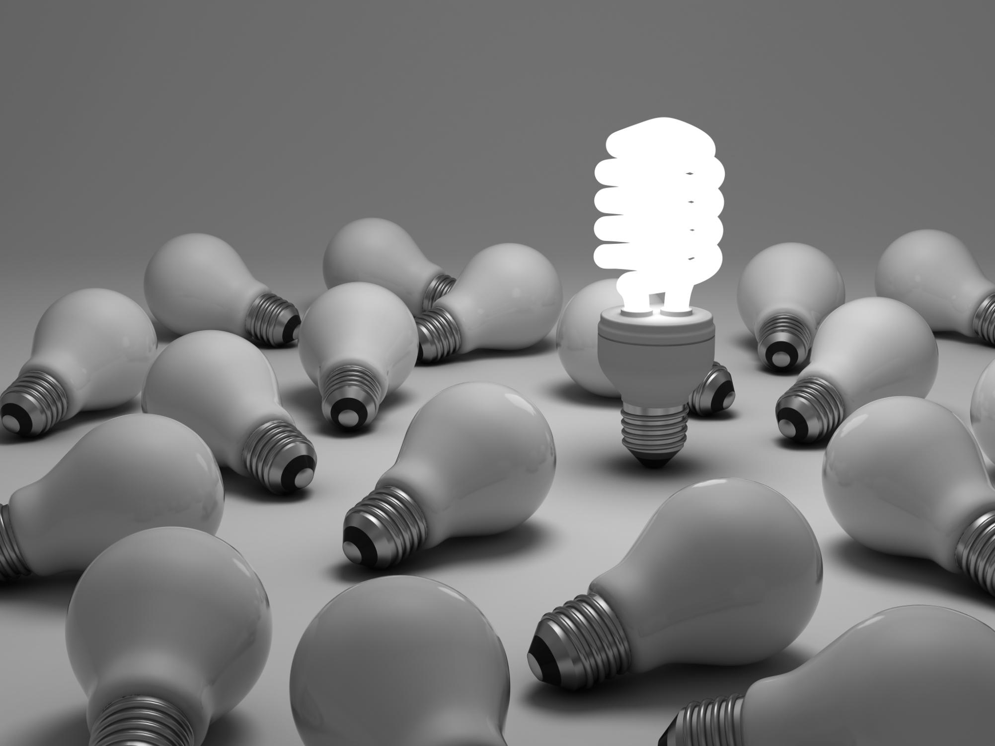 single lightbulb on